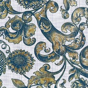 Ophelia's Posy ~ Provence ~ Lonely Angel Blue Gilt on Linen Luxe