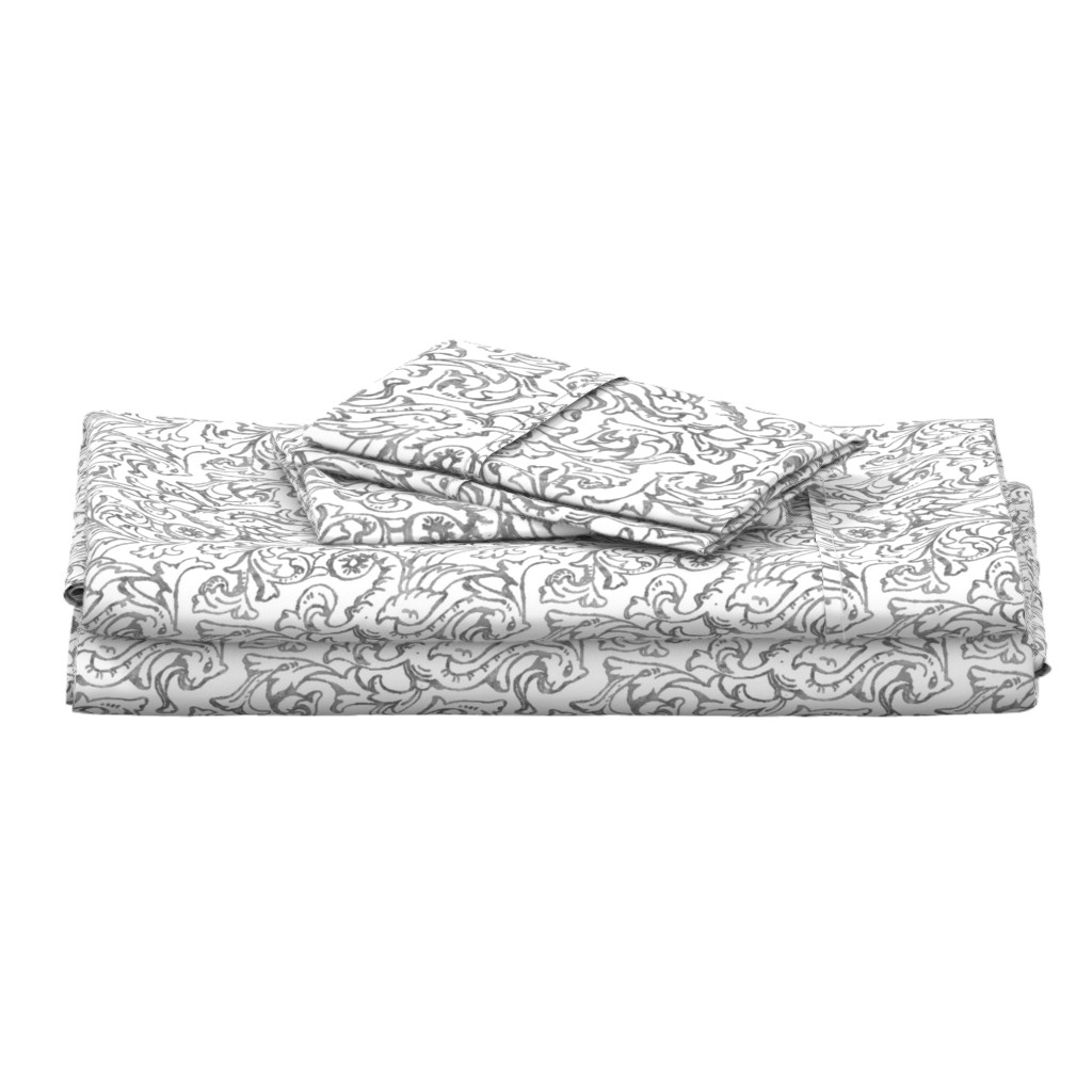 Langshan Full Bed Set featuring Here There Be Dragons ~ Silver on white  by peacoquettedesigns