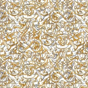 Here There Be Dragons ~ Gilt Gold and Silver on White