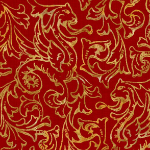 Here There Be Dragons ~ Gilt Gold on Royal Red Linen
