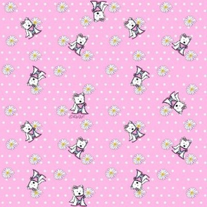 Westie Daisies On Pink (Small)