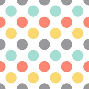 Coral mint yellow dots