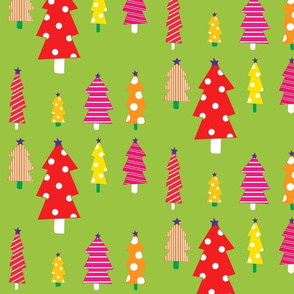 Christmas Trees On Green
