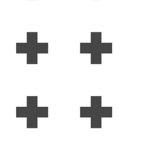Large Swiss Cross Gray on White