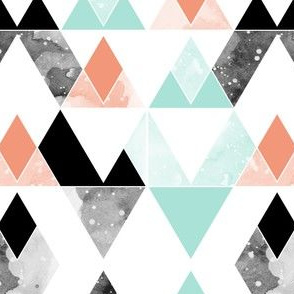 geo mountains mint, coral, black