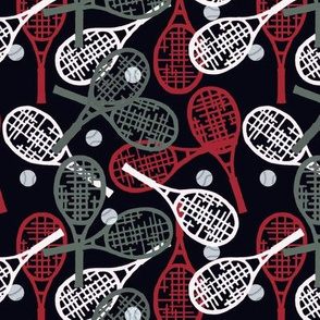 Tennis Racquets in Red, Gray & White