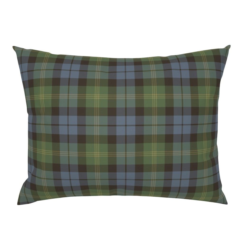 Campine Pillow Sham featuring Ancient Gordon tartan, traditional colors by weavingmajor