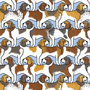 Beagles on Blue