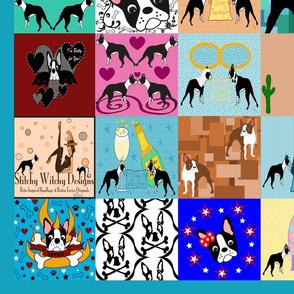 Crazzy Faux Boston Terrier Quilt 80
