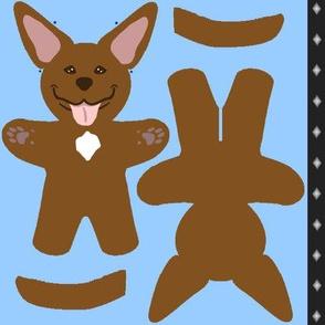 Kawaii American Pitbull Terrier mini plushie - brown