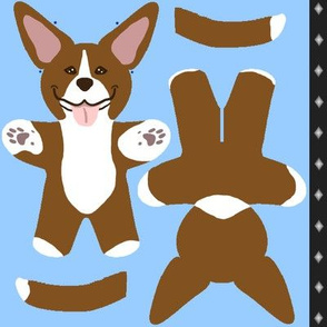 Kawaii American Pitbull Terrier mini plushie - brown white