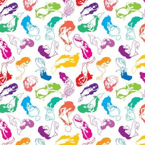 Mermaid Babes in Rainbow