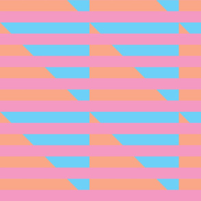 pink blue peach stripes triangle