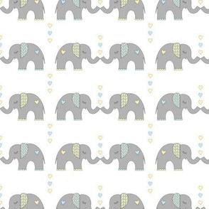 Elephant Kisses: Blue + Yellow