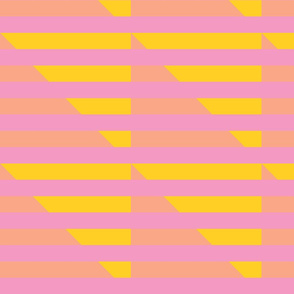 pink yellow peach stripes triangle