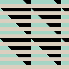 tan black mint stripes triangle