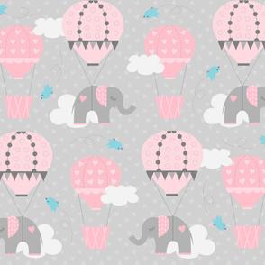 Hot Air Balloon Elephants on Gray