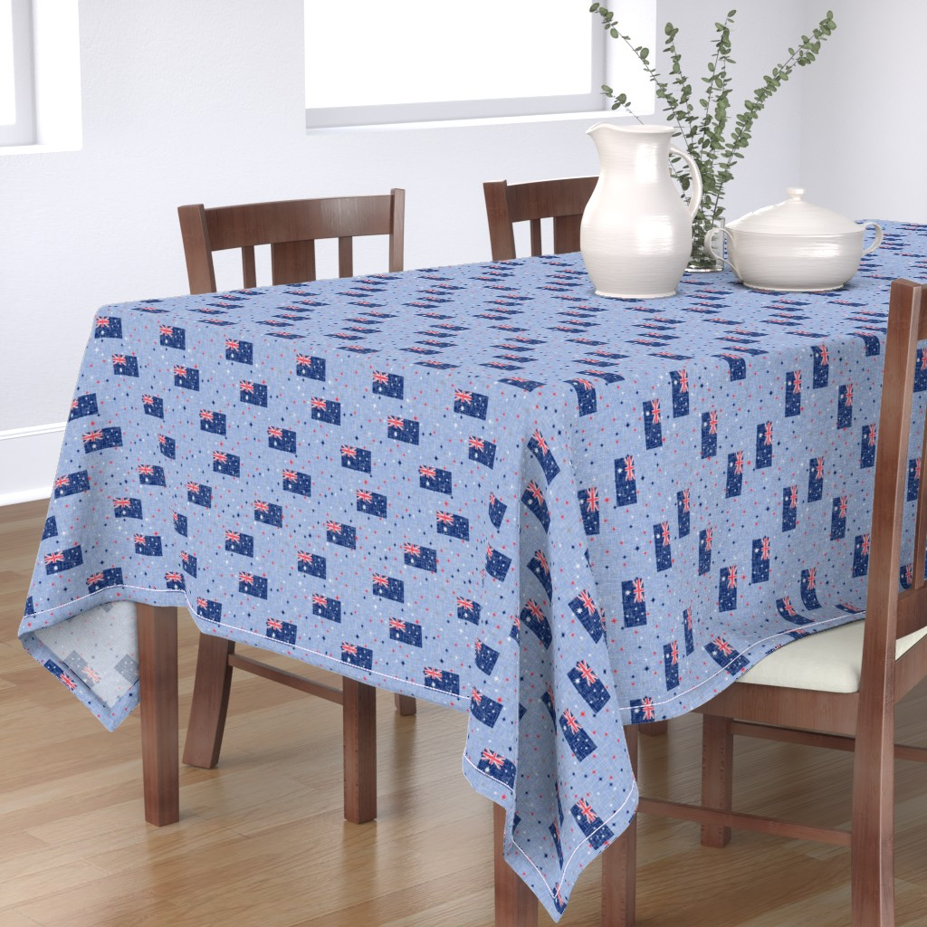 Bantam Rectangular Tablecloth featuring Vintage Patriotic Aussie by inscribed_here