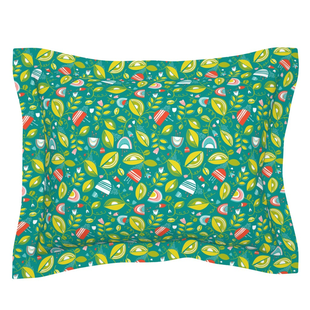 Sebright Pillow Sham featuring Penelope - Floral Turquoise Spring Fling  by heatherdutton