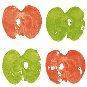 apple prints in red and green on white