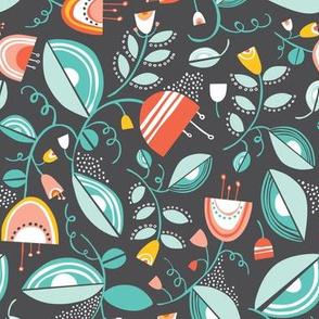 Penelope - Floral Charcoal Black Summer Breeze