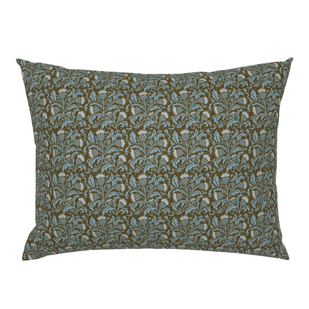 Campine Pillow Sham featuring thistle brown & blue by cindylindgren