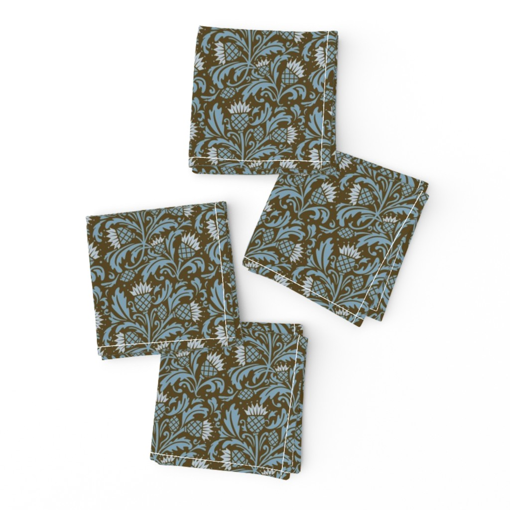 Frizzle Cocktail Napkins featuring thistle brown & blue by cindylindgren