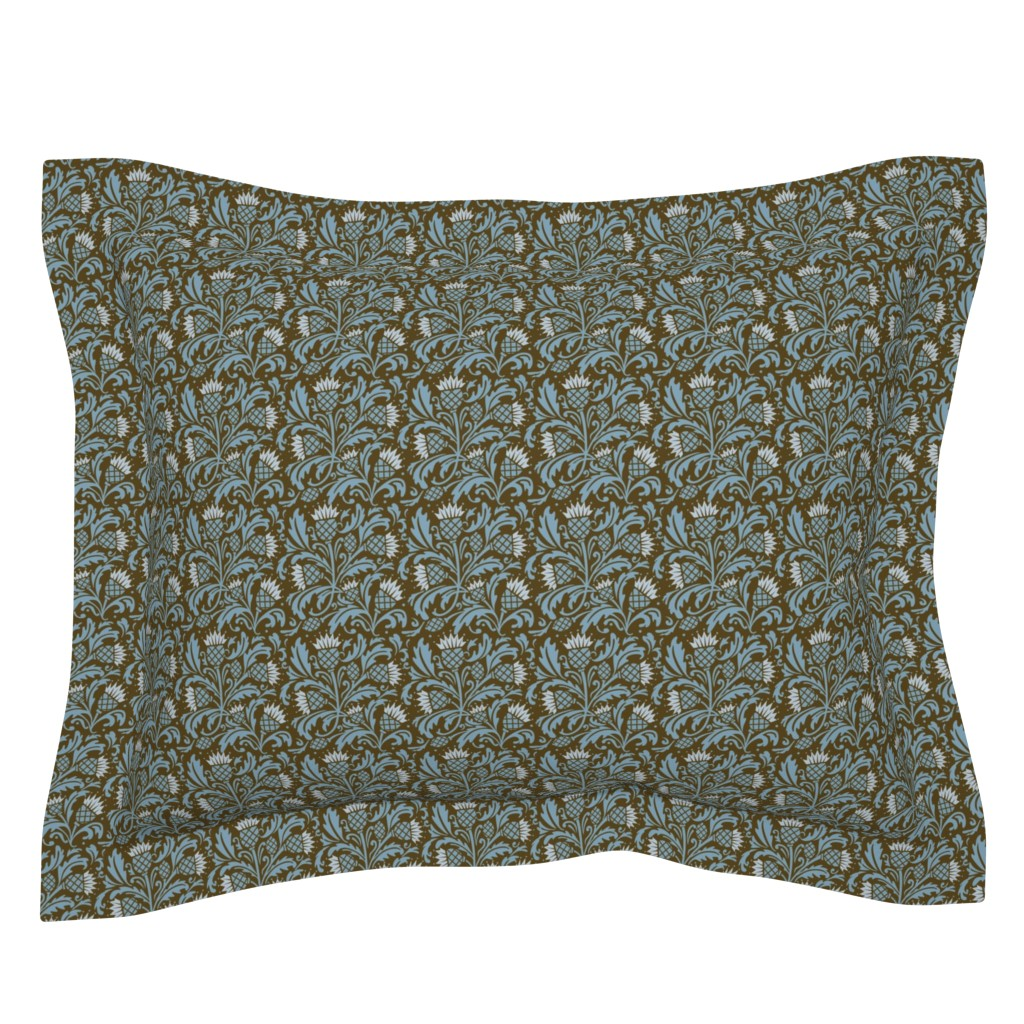 Sebright Pillow Sham featuring thistle brown & blue by cindylindgren