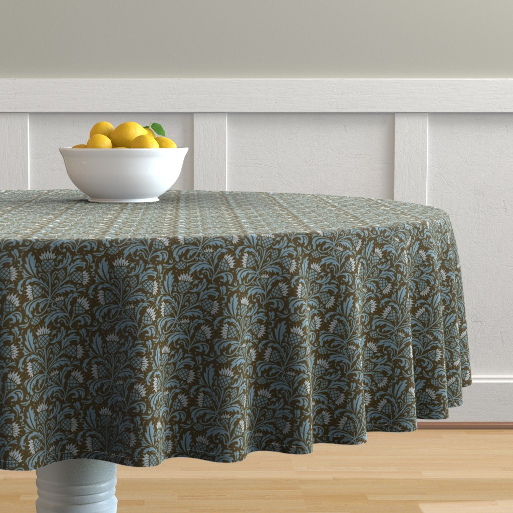Malay Round Tablecloth featuring thistle brown & blue by cindylindgren