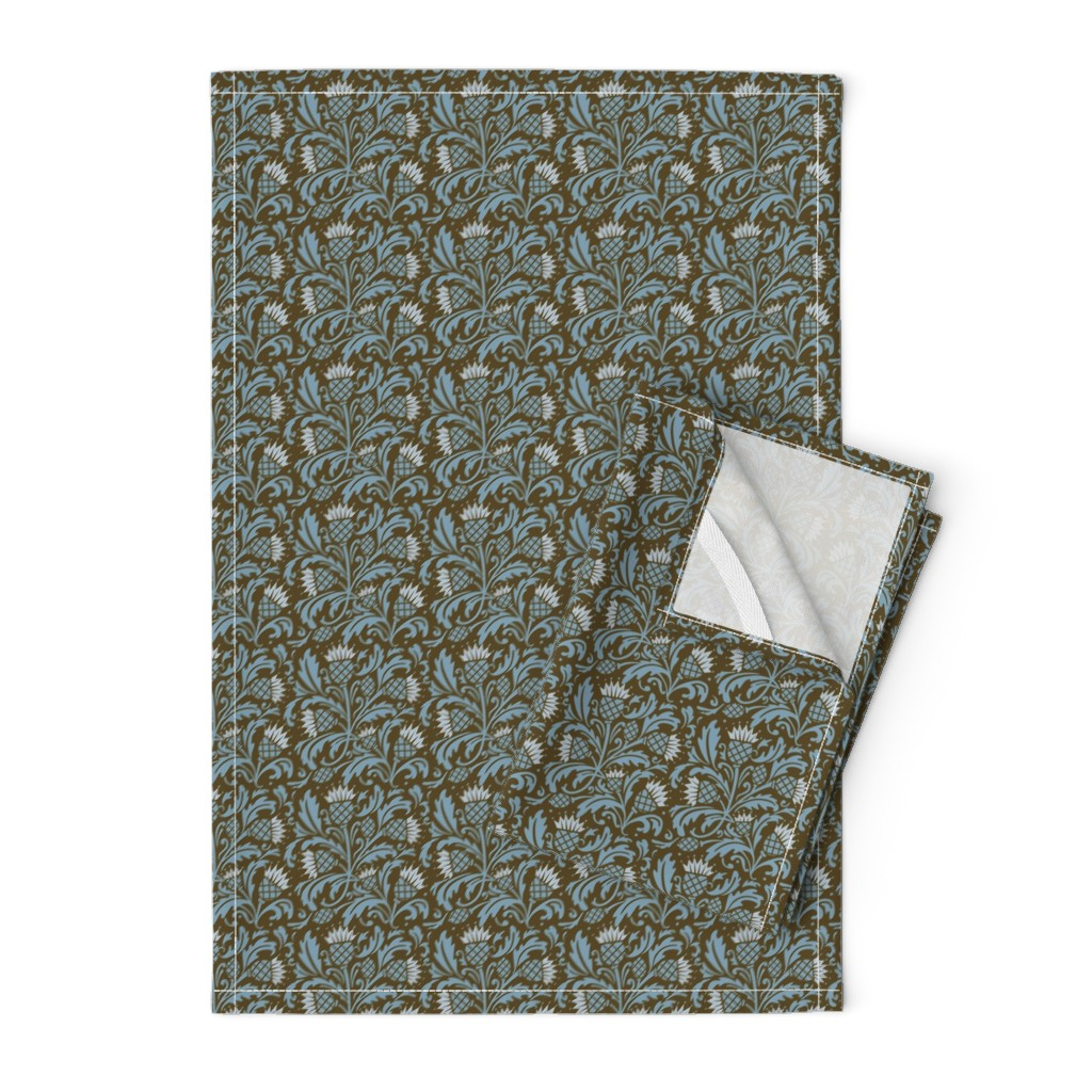 Orpington Tea Towels featuring thistle brown & blue by cindylindgren