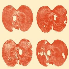 apple prints - red on cream