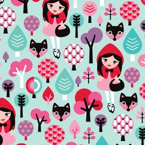 Red riding hood sweet girl woodland fox and apple tree summer print
