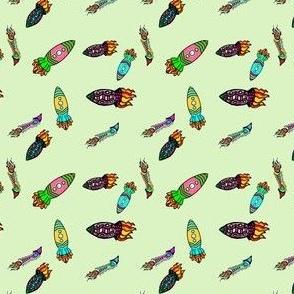 Quirky Rockets {Green}  | Bohemian Sky | Cosmic Doodles