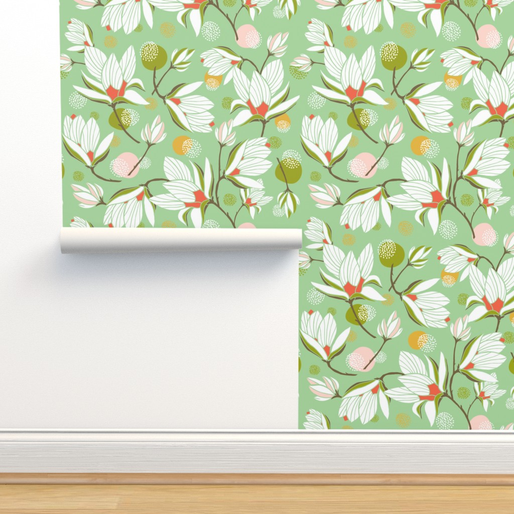 Magnolia Blossom Floral Mint Green On Isobar By Heatherdutton