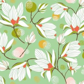 Magnolia Blossom - Floral Mint Green