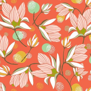 Magnolia Blossom - Floral Red