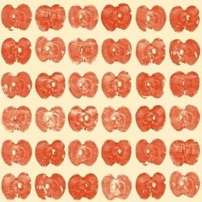 tiny apple prints - red on cream