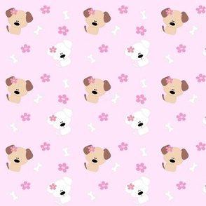 Dogs and Flowers - Pink