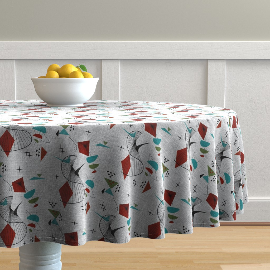 Malay Round Tablecloth featuring Mid Century Modern Retro Swirl Atomic by gesenared