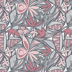 SMALL Floral Bliss (Pink and Gray)