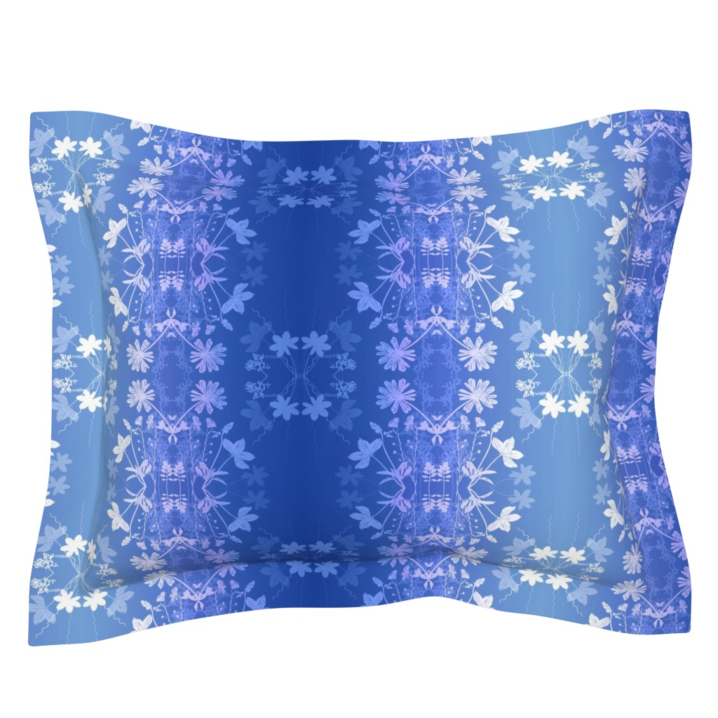 Sebright Pillow Sham featuring Ombre Blue garden by mypetalpress