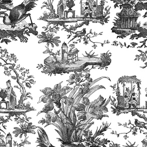 Chinoiserie Toile ~ Black and White