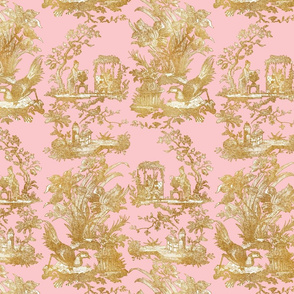 Chinoiserie Toile ~ Gilt on Dauphine