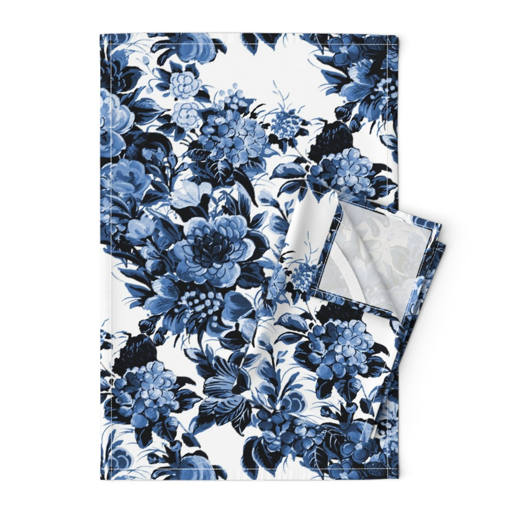 Orpington Tea Towels featuring Mid Century Modern Floral Cocktail ~ Lonely Angel Blue and White  by peacoquettedesigns
