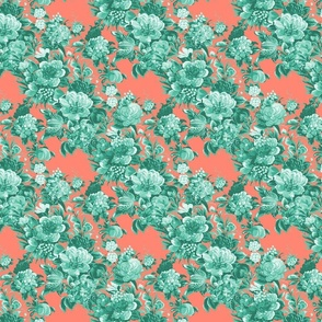 Mid Century Modern Floral Cocktail ~ Mint and Coral Two Tone