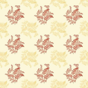 Caroline Calico ~ Rococo Gold and Turkey Red on Hameau