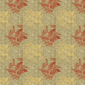 Caroline Calico ~ Rococo Gold and Turkey Red on Linen Luxe