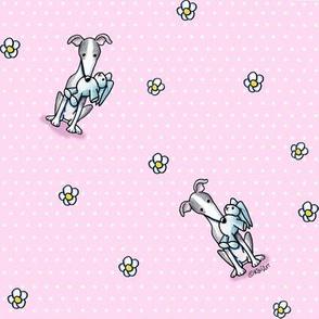 KiniArt Greyhounds Dots & Flowers