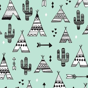 Cute indian summer teepee tent camping and arrow cactus western woodland theme in mint black and white