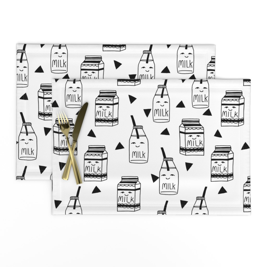 Lamona Cloth Placemats featuring milk // black and white kids food hand-drawn illustration fabric pattern by andrea_lauren